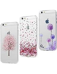 Coque iPhone 6 6S Transparente Housse Cuir Étui Accessoire Silicone Gel Souple TPU Antichoc Original Case Cover Flip pour iPhone 6 6S (4.7 pouces) - Cerisier * Amour * Pissenlit