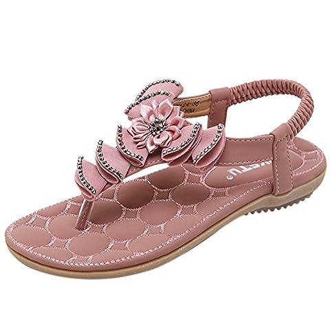 Oasap Women's Fashion Flower Shape Elastic Back Strap Thong Sandals, Pink EURO39/US8/UK6