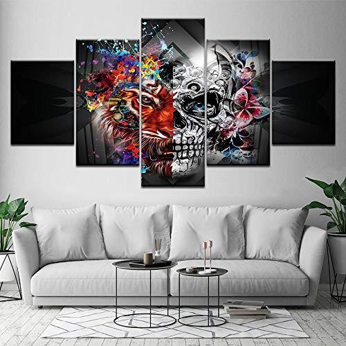 FYZKAY sur Toile Tableaux 5 Parties Crâne d'art Abstrait avec des Fleurs Wall Art Peinture Fonds d'écran Affiche Imprimer Home Decor sans Cadre