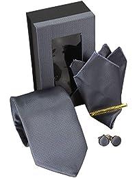 Corbatas Set 4 8,5cm Corbata + Pañuelo + Gemelos + Alfiler de corbata
