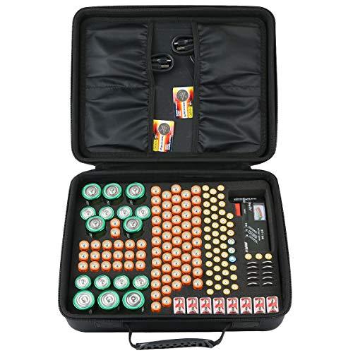 co2CREA Batterie Aufbewahrungsbox Tragetasche Batteriebox - Hält 143 Batterien AA AAA C D 9V - Passend für Tacklife MBT01 Batterietester Akkutester Batterieprüfergerät (M_Holds,Ohne Tester)