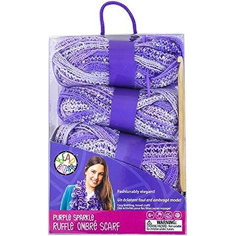 Sparkle Ruffle Scarf Crochet Kit-Purple