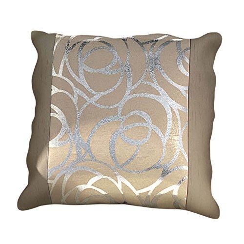 Skye - fodera per cuscino decorativo - quadrato - cerchi argentati - 45,5 x 45,5 cm - neutro/panna