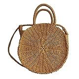Borsa Rattan borsa di rotondo borsa da spiaggia rotondo donna paglia borsa a mano spiaggia esterna paglia spiaggia Spalla Unica a tracolla borsa tessuto a doppio uso-fancylande