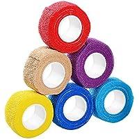 ASIV Cohesive Bandage 4.5M Self Adherent Bandage, Pet Vet Wrap Bandaging Tape - Pack of 6 (Random Color)