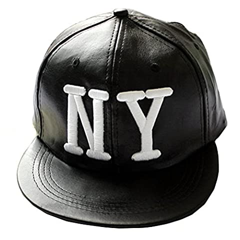 LOCOMO Black PU Leather Embroidery LA / NY Snapback Baseball