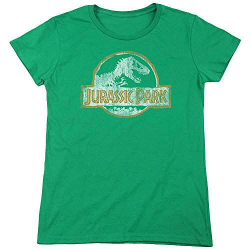 Ladies Official Kelly Green Jurassic Park Distressed Logo T-shirt - S to XXL