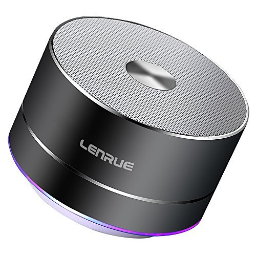 Lenrue Portable Bluetooth Lautsprecher, Wireless Outdoor Mini Wiederaufladbare Lautsprecher mit LED, Stereo Sound, Enhanced Bass, Eingebauter Mic für IPhone / IPad / Andriod / Samsung / Tablet/Echo dot (Grau)