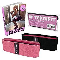 Teknifit Booty Builder Premium Trainingsband Resistenzband für Po und Hüften - Elastisches Rutschfestes Widerstandsband Rosa/Pink (L)