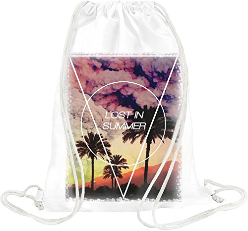 Lost In Summer Palms Beach Drawstring bag