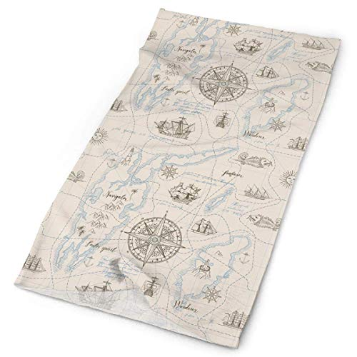 Wfispiy Vintage Nautical Chart Headwear Bandanas Seamless Headscarf Outdoor Sport Headdress Running Riding Skiing Hiking Headbands Küsten-charts