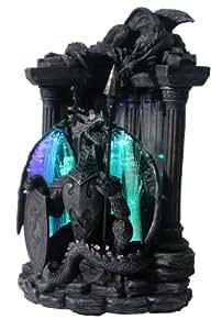 Dekofigur Drachenlampe Drache vor Säule mit Fieberglas Beleuchtung Mystik Gothic Fantasy Dekoration