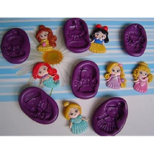 figuras kawaii porcelana fria Lote de 6 Moldes de Silicona Princesas Ariel, Rapunzel, Blanca Nieves, Bella, Cenicienta, Aurora Porcelana fria, Fimo