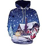 SEWORLD Weihnachten Vintage Christmas Männer Frauen Modus 3D Weihnachten Drucken Langarm Paare Hoodies Top Bluse Shirts(Mehrfarbig4,EU-42/CN-2XL)