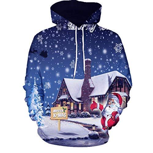 (SEWORLD Weihnachten Vintage Christmas Männer Frauen Modus 3D Weihnachten Drucken Langarm Paare Hoodies Top Bluse Shirts(Mehrfarbig4,EU-38/CN-L))