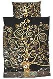 Goebel Satin-Bettwäsche nach Gustav Klimt Lebensbaum 135x200 cm + 80x80 cm, schwarz Gold