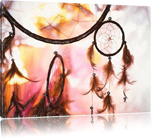 Traumfänger bei Sonnenuntergang Kunst Buntstift Effekt, Format: 120x80 auf Leinwand, XXL riesige Bilder fertig gerahmt mit Keilrahmen, Kunstdruck auf Wandbild mit Rahmen, günstiger als Gemälde oder Ölbild, kein Poster oder Plakat
