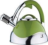 Induktion Wasserkessel aus Edelstahl Design Kessel Pfeifkessel Flötenkessel Herd (Kapazität ca. 3 Liter + Farbe: grün/silber)
