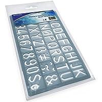 Westcott Capital - Plantilla de alfabeto y número 20 mm, color azul transparente, 19 cm x 10,9 cm