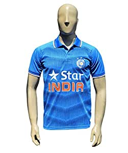 X3 Team India ODI Classic Cricket Supporter Jersey (34 (Ages 10-11))