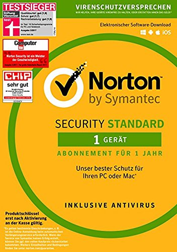 1 Jahr Hardware (Norton Security Standard Antivirus Software 2018 / Zuverlässiger Virenschutz (Jahres-Abonnement) für 1 Gerät / Download für Windows (u.a. Vista, 8 & 10), Mac, Android & iOS)