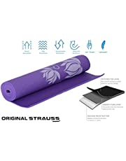 STRAUSS Floral Yoga Mat 4 mm Blue