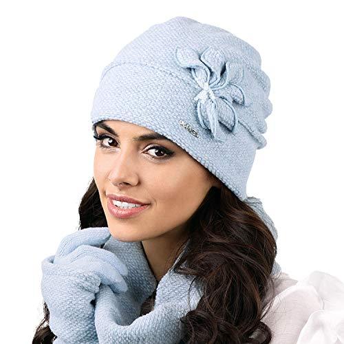 Kamea Modena Dame Mütze Kopfbedeckung Winter, Hellblau,Uni