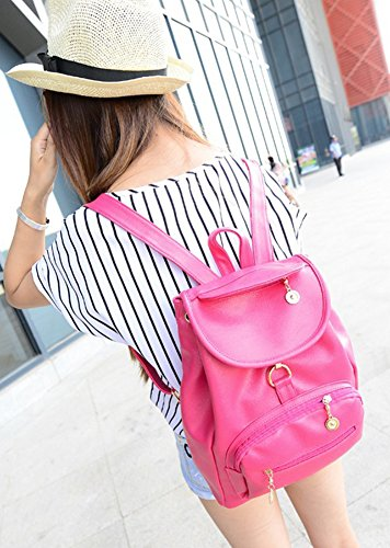 Tonwhar ® Women's Girls'Preppy Style Fashion Rucksack Casual Shoulder Bag Rot - Rose