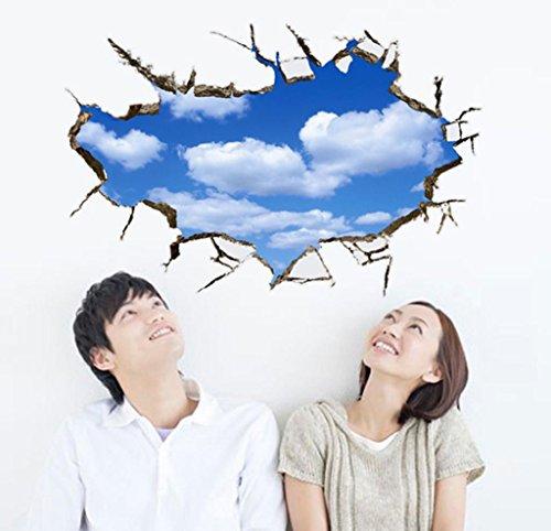 GJX@ Adesivi murali 3d blu cielo e nuvole bianche decorazione interna rimovibile Wall Sticker , 60*90cm
