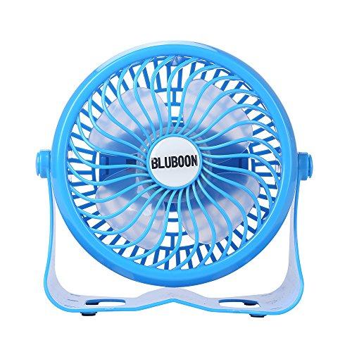 BLUBOON Mini Ventilador USB Batería Ventiladores Recargable Fan 360° de Ruido Ajustable sin escalonamientos (Azul)