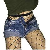 Socken Longra Damen Mädchen Mode Strumpfmode schwarzen elastischen Oberschenkel hohe Strümpfe Strumpfhosen Netzstrumpfhose (A)