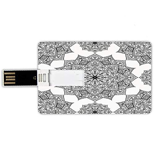 32GB Forma de tarjeta de crédito de unidades flash USB Decoración Mandala Estilo de tarjeta de banco de Memory Stick Mosaico del Medio Oriente Secret Body and Spirit Mandala Motif Imagen activa del mu