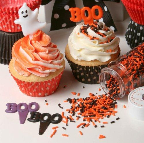 /Cake Decorating Boo Puffy Picks, 2-Inch, Purple/Orange/Black, 12-Pack ()