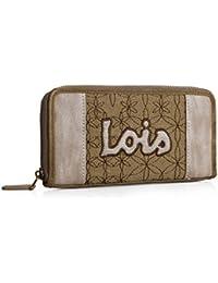 LOIS - 91601 Cartera Billetero Tarjetero Monedero de mujer con cremallera y compartimentos para tarjetas y documentación. Lona y piel sintética.
