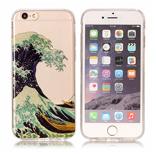 iphone 7 Glitter Custodia, iphone 7 Silicone Cover, Trasparente Caso for iphone 7 4.7, Ekakashop Moda Fantasia Creative 3d Gel Soft TPU Silicone Gomma Cover, Colorato Painting High penetration IMD Te Le onde