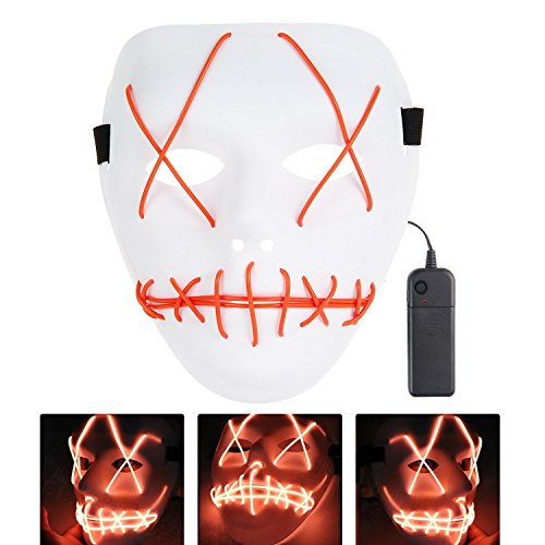 HITSAN INCORPORATION LED Light Mask Up Funny Mask from The Purge Election Year Great for Festival Cosplay Halloween Costume Cosplay Glow in Dark