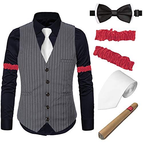 EFORLED Herren Gatsby Flapper Strick-Weste, Gangster-Kleid, Hemd und Armbänder, Spielzeug-Zigarre, Krawatte, Vorbinden - Grau - XX-Large