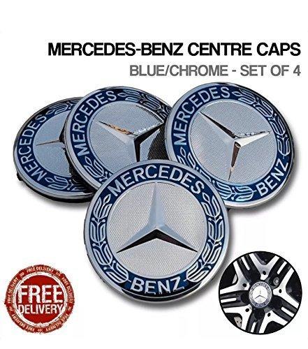 Mercedes Alloy Wheel Centre Caps Genuine Color 75mm x4 Star with Laurel  Wreath For E-class C-Class CL CLS SLK Ml GLK A Class B Class W210 W221 W204  W212 ... 9741d94327e0