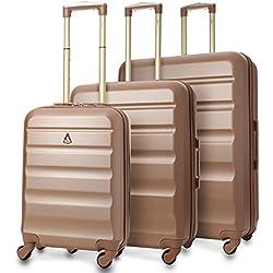 Aerolite - Súper liviano, 3 piezas, equipaje de viaje rígido, maleta de viaje, con 4 ruedas (3 piezas, oro rosa)