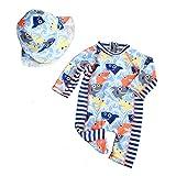 Gogokids Jungen Badeanzüge Kinder Bademode - Einteiler Bade Strand Kostüm Sonnenschutz Sonnenanzug Mit Badekappe