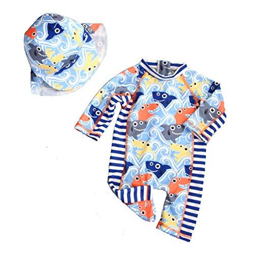 Sonnenschutz Kostüm Baby - Gogokids Jungen Badeanzüge Kinder Bademode - Einteiler Bade Strand Kostüm Sonnenschutz Sonnenanzug Mit Badekappe