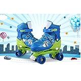 AMdirect Kinder einstellbare zweireihige Rollschuhe, Training Rollerblade mit PVC-Rad und Mesh atmungsaktive Inline-Skates für Jungen Mädchen (Blau, 35-38)