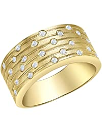 Carissima Gold 9ct Yellow Gold Diamond Satin Band Ring