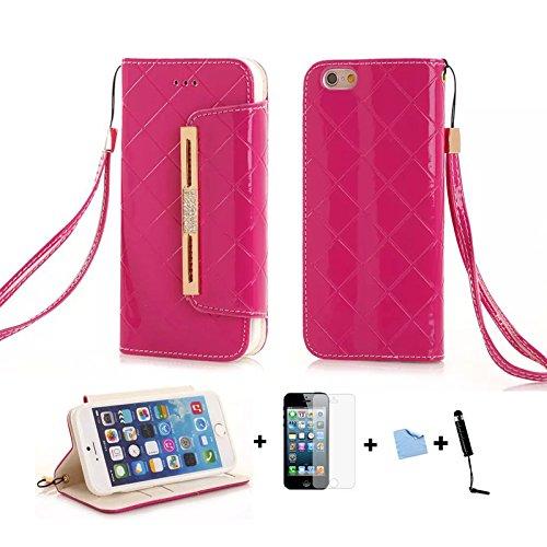 E-Max 4 en 1 Wallet Flip Case Cover Housse Portefeuille Etui Pour Coque Apple iPhone 6 Plus 5.5 Inch , Stylus et Film protecteur inclus, Brun (E03) A03