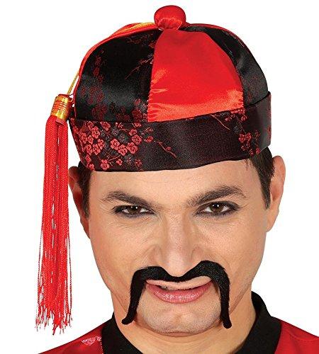 Chinesische Mütze (Fiestas Guirca Cappello Mandarino Rosso e Nero per travestimento cinese Carnevale)