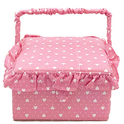 VIVA HOME Costurero Cuadro de Color Rosa con Topos Blancos 9 x...