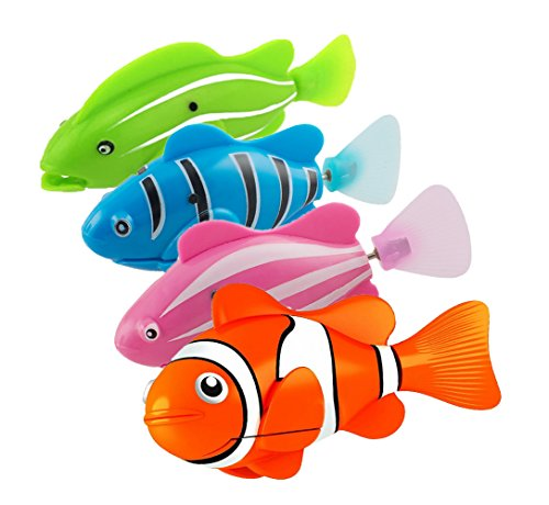 h Fun Water Activated Robotic Swimming Clown Fish Pet Toy for Kids Children, 4 Pcs (Roboter-fisch)