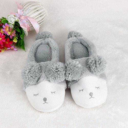 Maison De Chaussures D'hiver, Amlaiworld Cartoon De Pantoufles En Peluche Créative Grey
