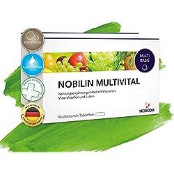 Nobilin Multivital - 120 Multivitamin Tabletten [4-Monatsvorrat] Tägliche Portion an Multivitaminen & Mineralien • 25 wichtige Vitalstoffe, Vitamine, Mineralstoffe, Spurenelemente von Vitamin A-Z