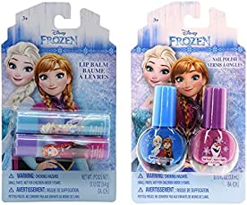Disney Frozen Beauty Bundles For Kids - 2 Items : Disney Frozen Nail Polish - Two Pack, Disney Frozen Lip Balm - Two Pack